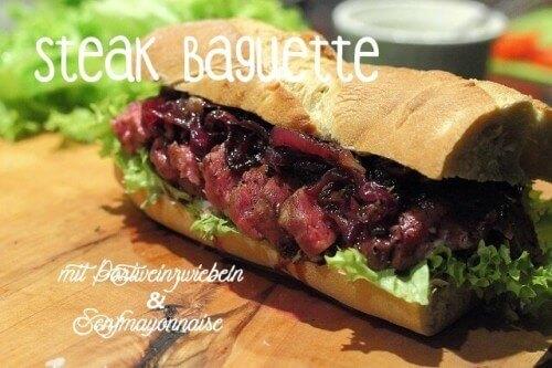 Steakbaguette mit Portweinzwiebeln