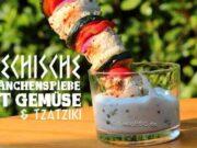 Griechische Hähnchen Spieße mit Gemüse und Tzatziki