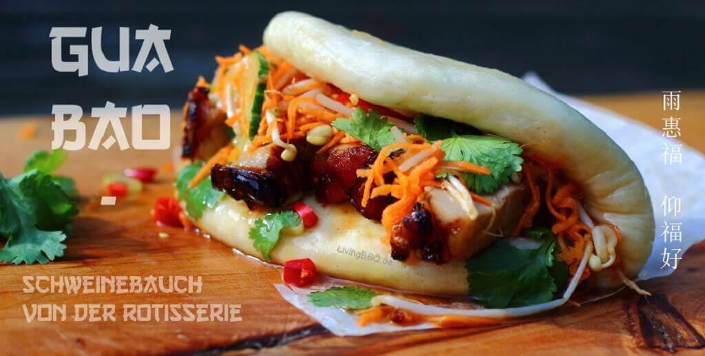 Gua Bao grillrezepte_LivingBBQ Gua Bao mit Schweinbauch von der Rotisserie