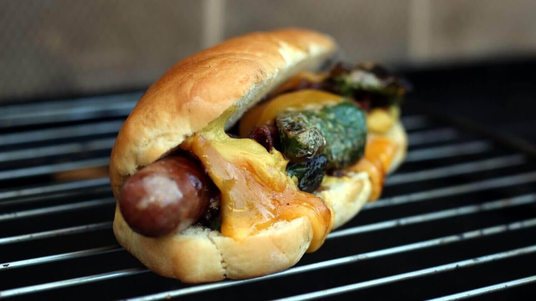 Hot Dog Käse schmelzen