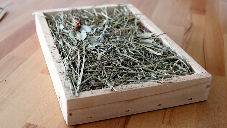 Kräuterheu in der Holzbox