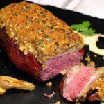 Dry Aged Roastbeef Apfel-Senf-Kruste roastbeef_Anschnittbild Roastbeef mit Kruste 150x150