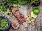 Flank Steak Rolle mit Walnuss Pesto