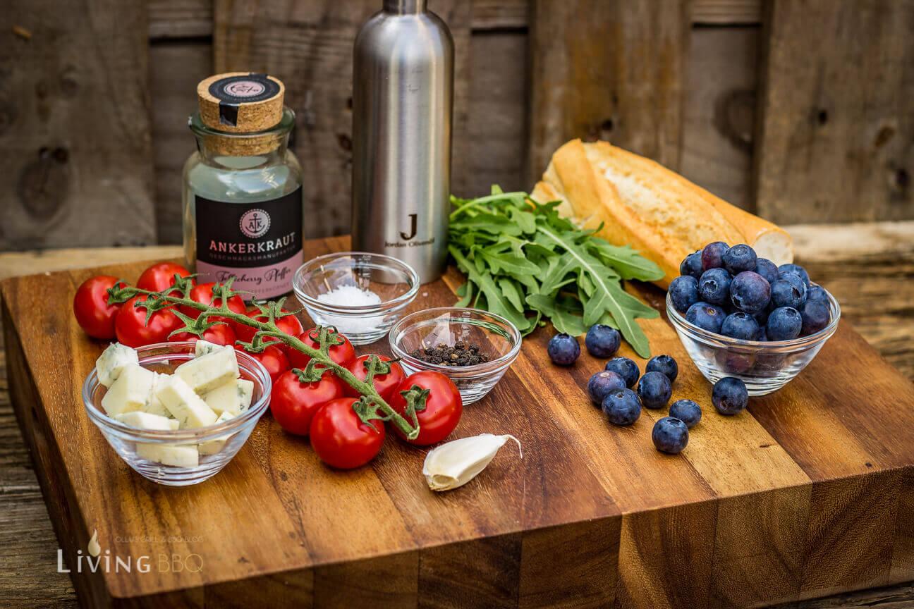 Zutaten für das Tomaten Rucola Baguette