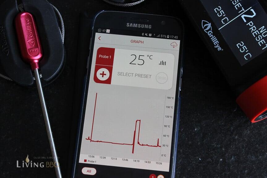 Grafischen Aufzeichnung durch die App _Grilleye Pro Plus Grillthermometer 7 von 15