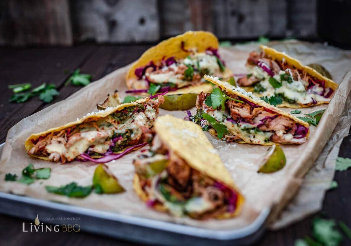 Tacco Shells mit Hühnchen und Cheddar Sauce grillrezepte_Tacos Shells mit Hu  hnchen und Salsa 12 von 16