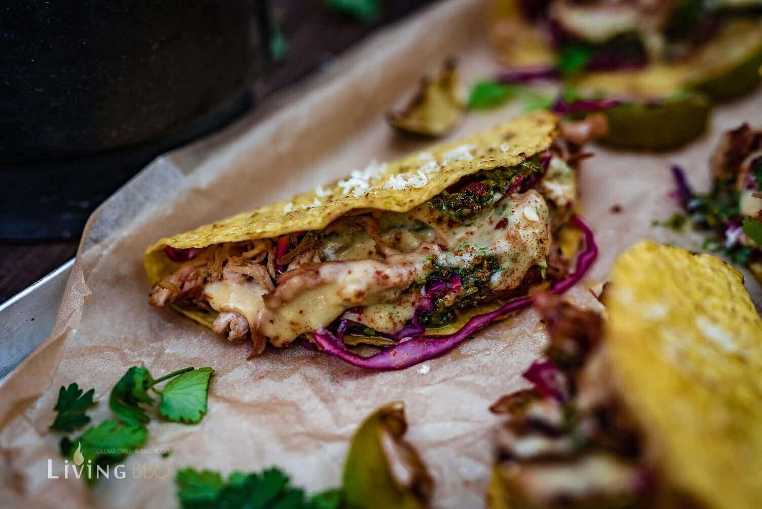 Taco Shells serviert _Tacos Shells mit Hu  hnchen und Salsa 16 von 16