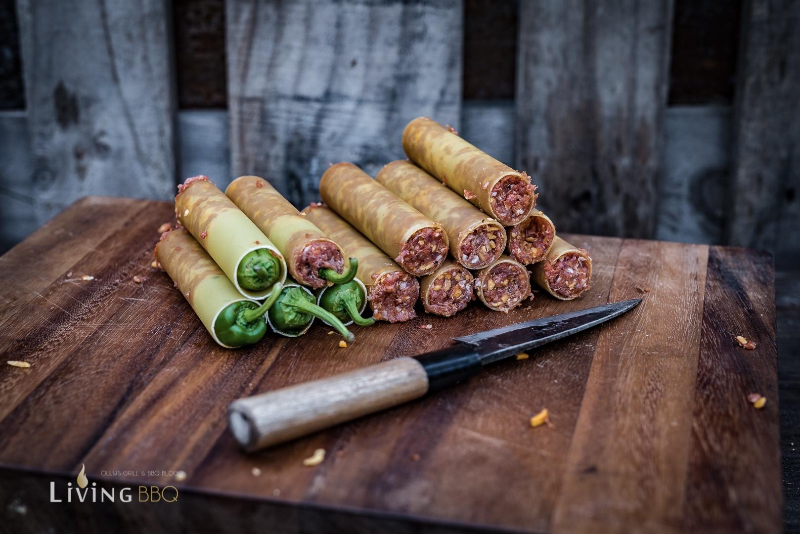 Hackfleisch gefüllte Cannellonie Shotgun Shells