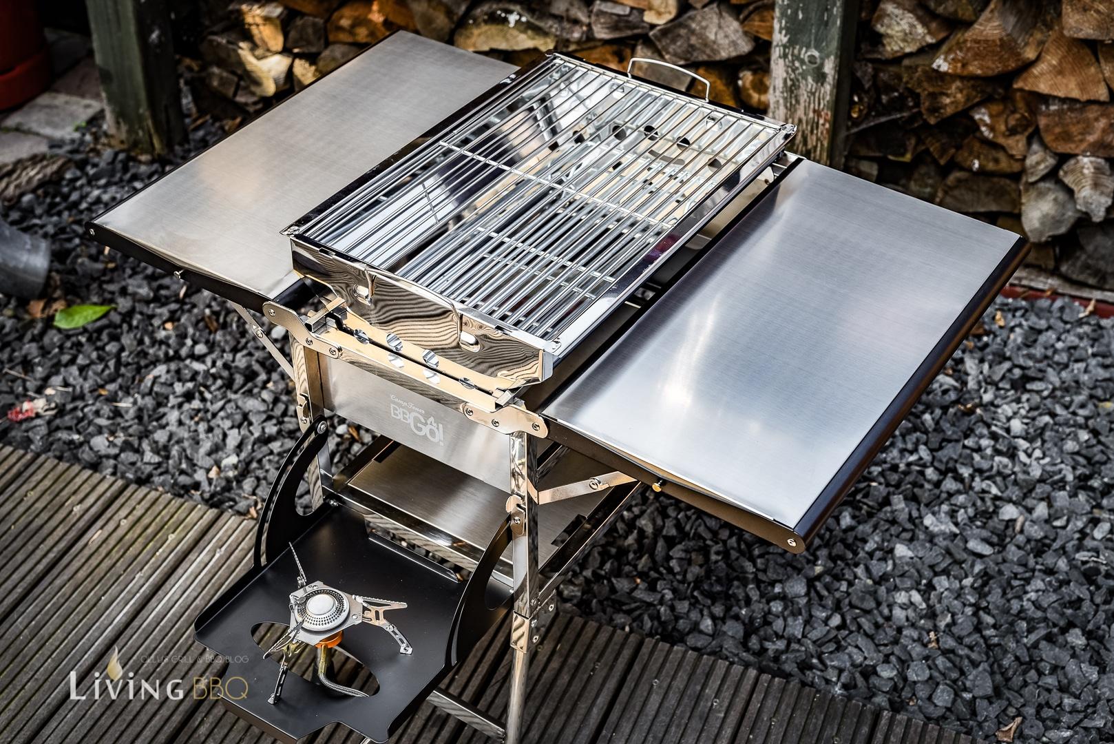 CampFeuer BBGo! Edelstahl Holzkohlegrill mit Seitenkocher