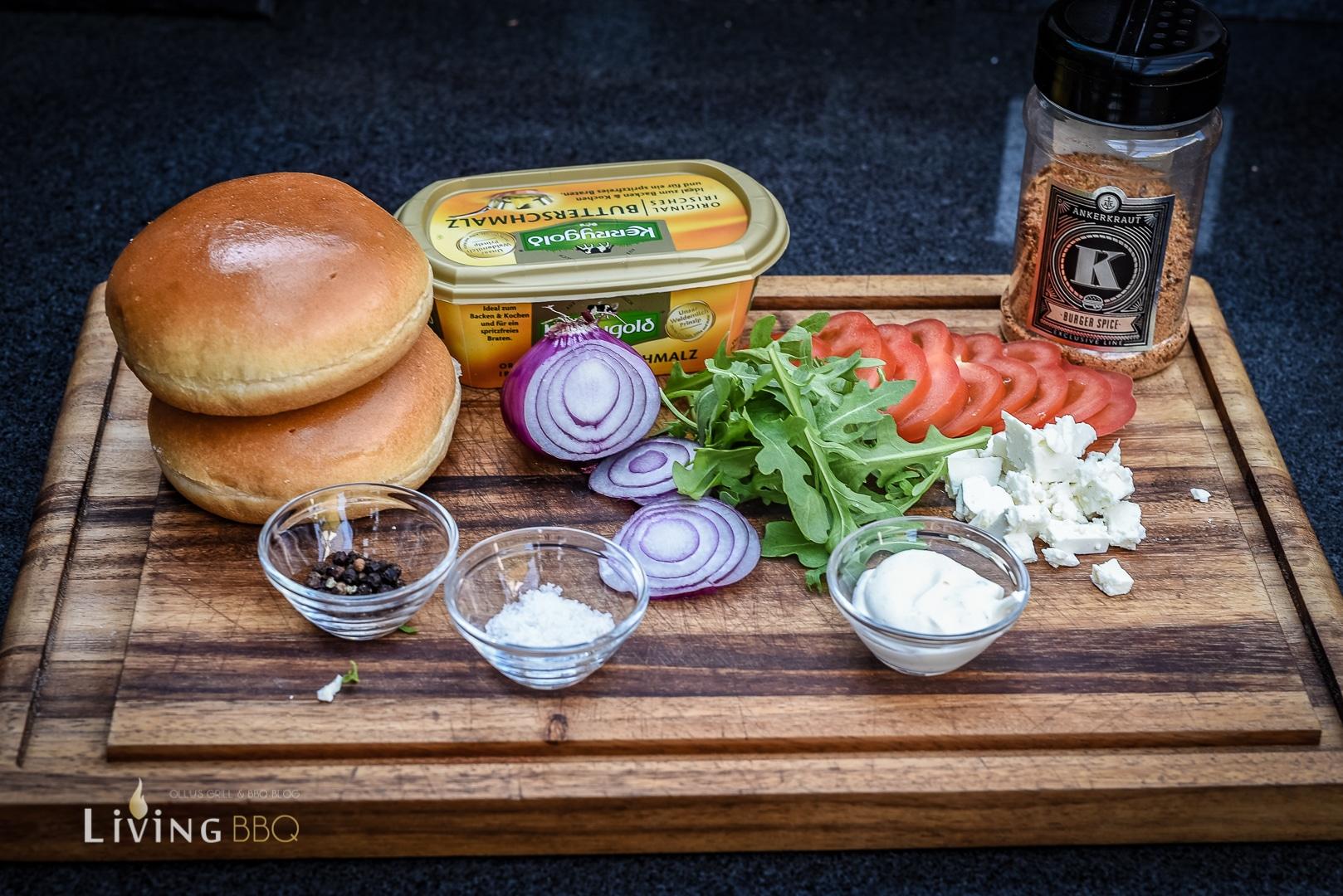Zutaten für Greekstyle Burger vom BBGo! Campingrill _Camp Feuer BBGo 21 von 36