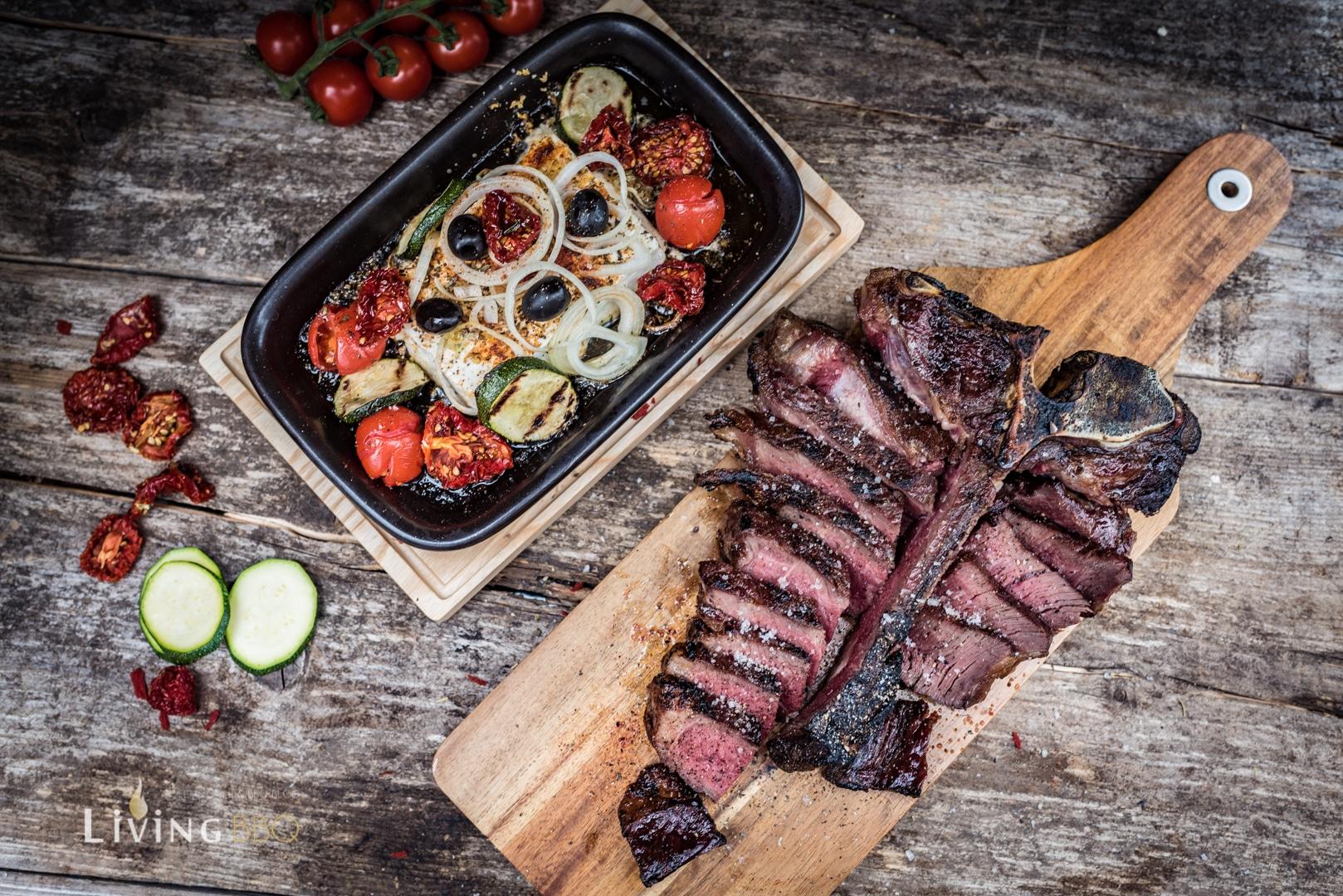 Steak und Fetakäse vom Grill