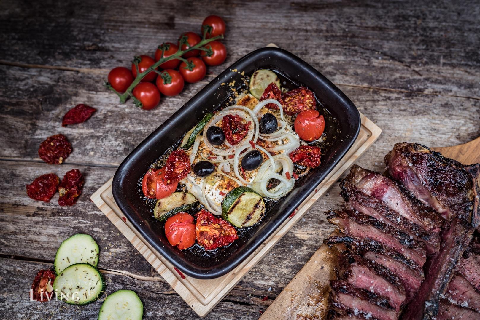 Warmer Fetakäse mit T-Bone Steak