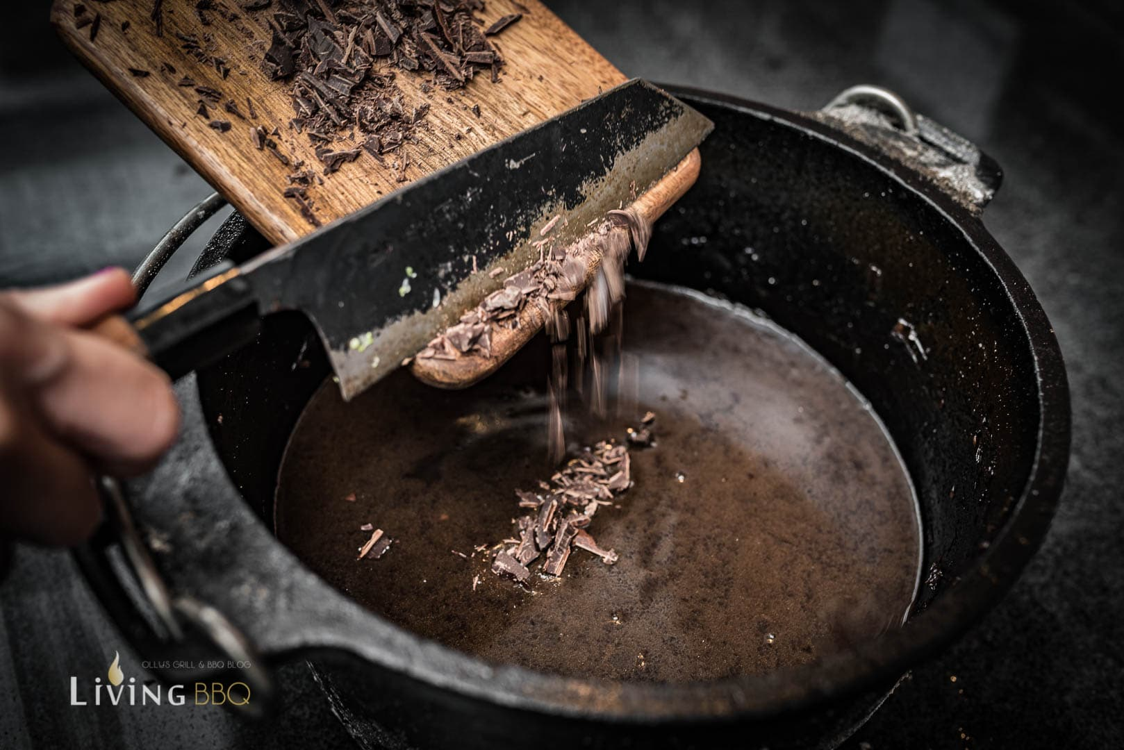 Schokolade in Rotweinsauce