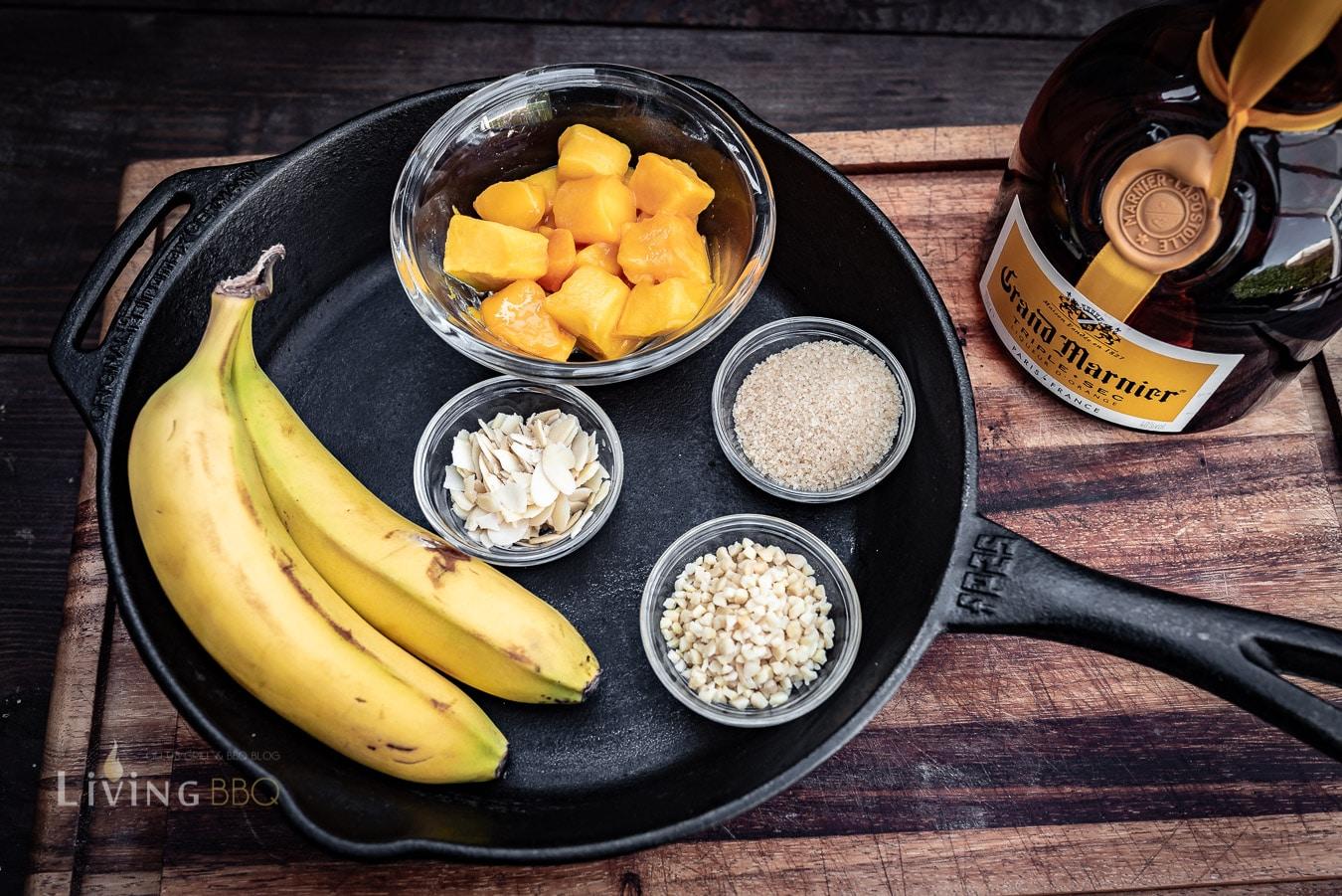 Zutaten gegrillte Bananen