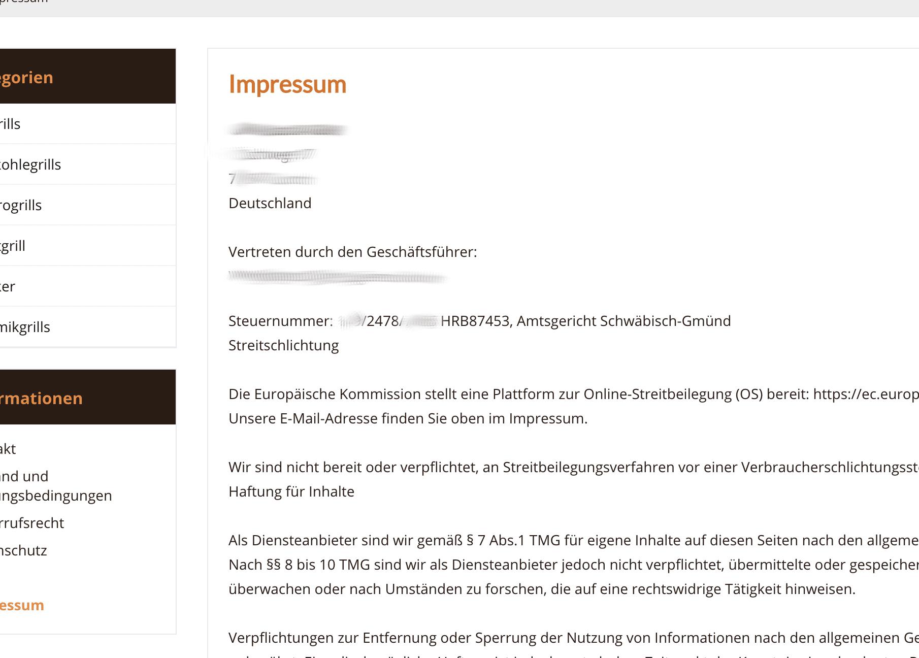 Impressum Fakeshop