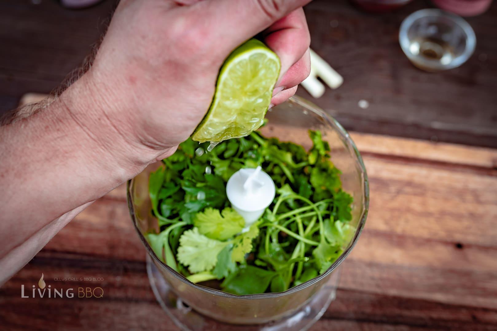 Limette und Korriander im Mixer