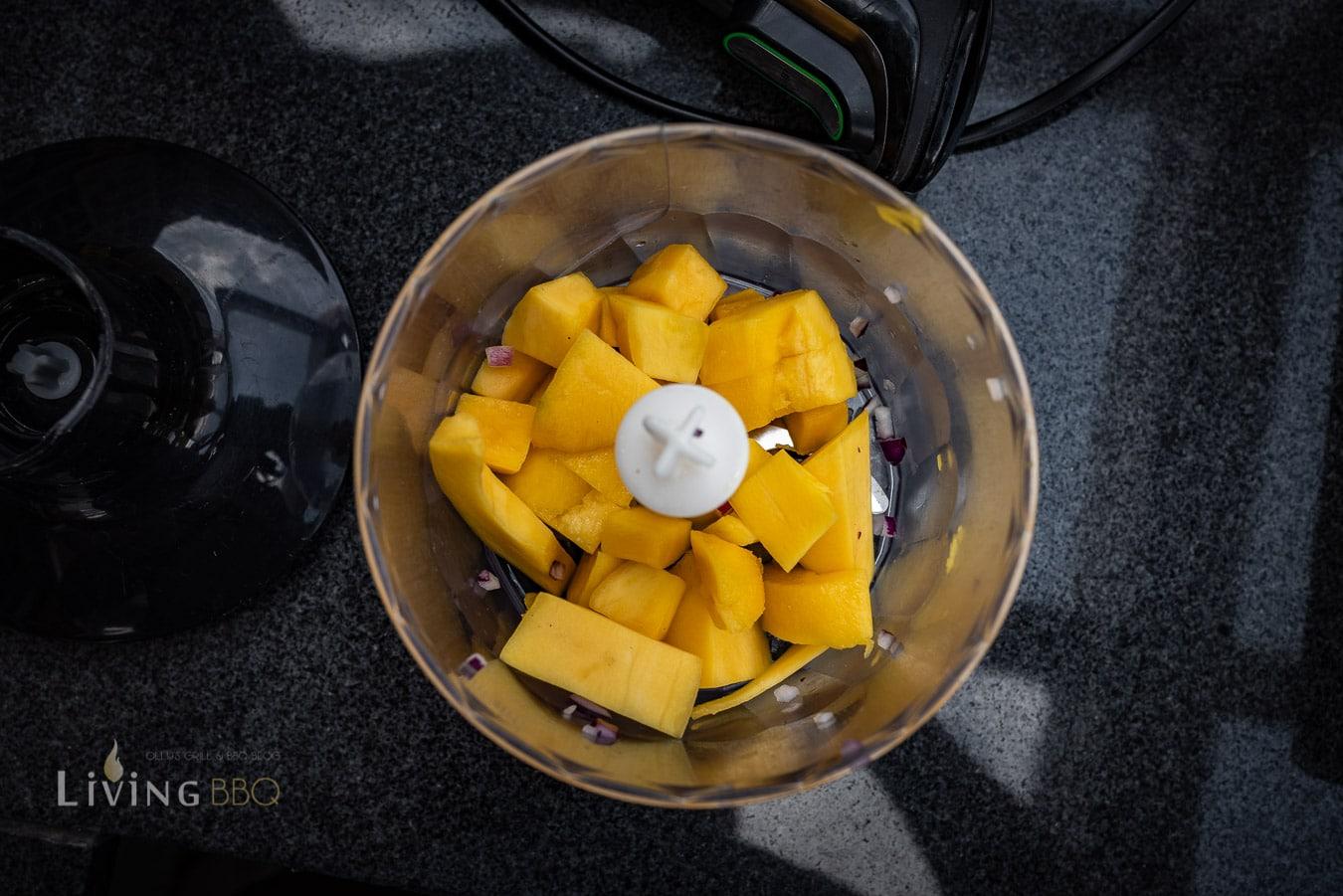 Mangowürfel pürieren