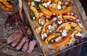 Ofenkürbis mit Kalbs-Tomahawk Steak