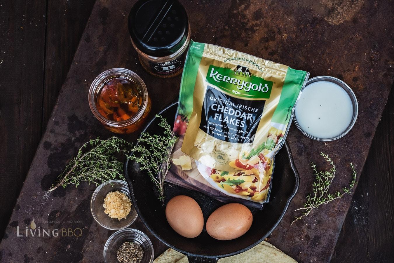 Zutaten für den Omlett Burrito zum Frühstück