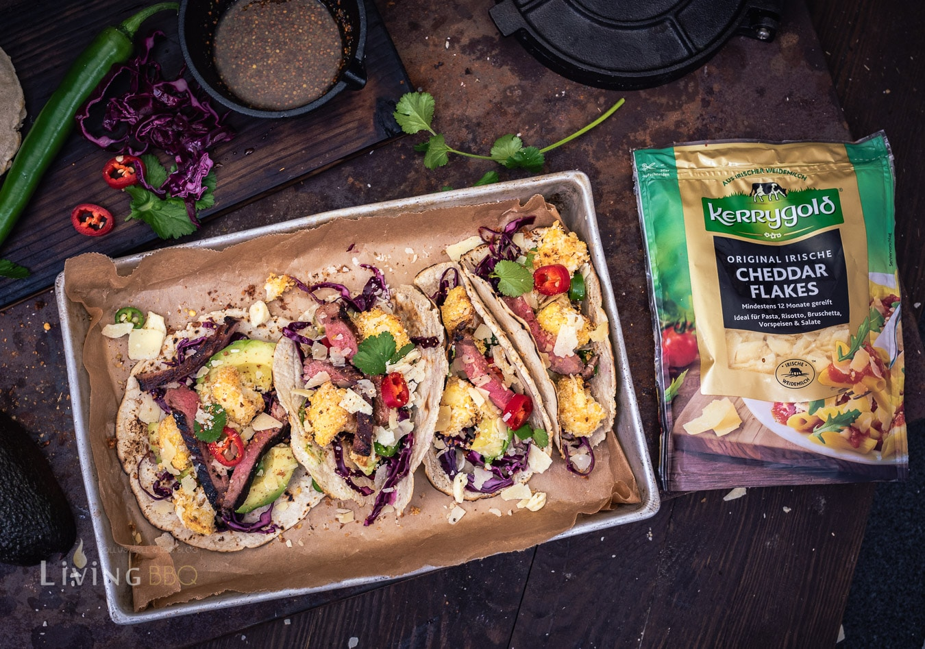 Tacos mit Cheddar Flakes