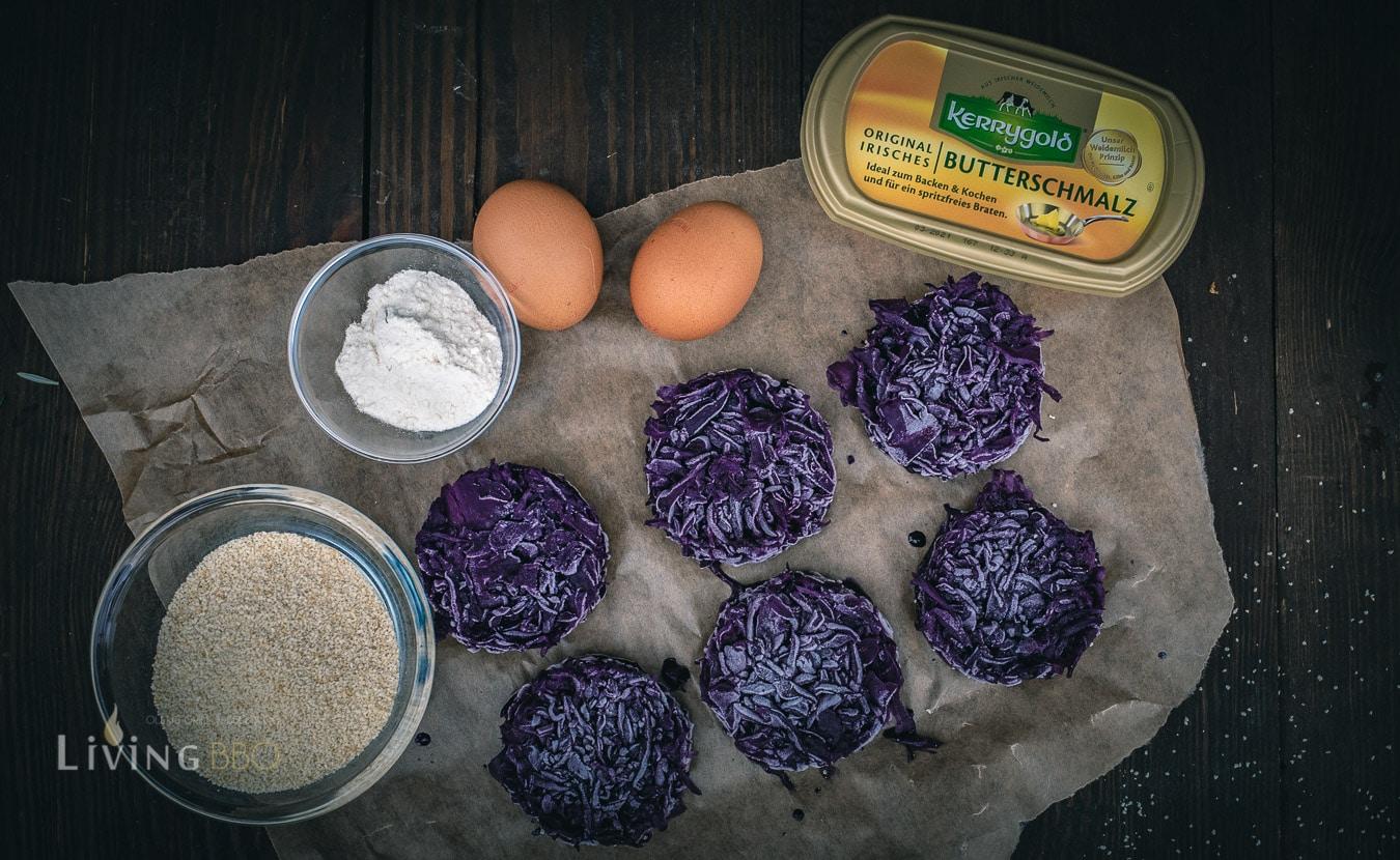 Zutaten für frittierten Rotkohl