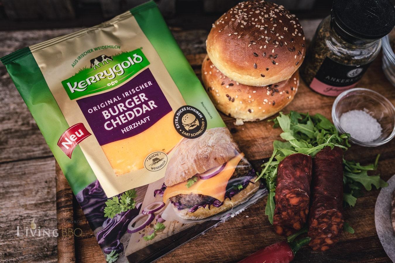 Kerrygold Burger Cheddar und Buns